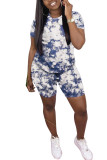 Green Polyester Fashion Casual adult Ma'am Patchwork Print Two Piece Suits Straight Short Sleeve Two Pieces