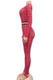 Light Purple Fashion Sexy Print Polyester Long Sleeve O Neck Jumpsuits