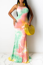 colour Celebrities Spaghetti Strap Sleeveless Slip Swagger Floor-Length Print bandage Tie and dye Dresses