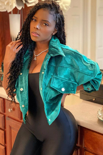 Green Turndown Collar Solid Corduroy Pure Long Sleeve Blazer & Suits &Jacket WZ681256