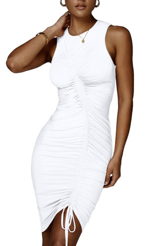 White Cotton Fashion Celebrities adult Ma'am Tank Sleeveless O neck Step Skirt Knee-Length Solid Draped Dresses