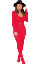 Red Cotton Drawstring Long Sleeve Mid Patchwork Solid Skinny Pants Jumpsuits & Rompers SMR391161