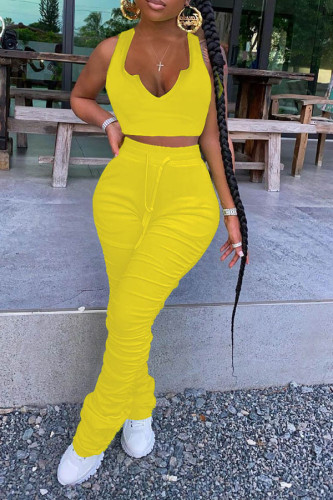 Yellow Polyester Sexy V Neck Patchwork Solid asymmetrical Plus Size