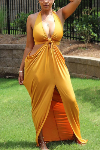Yellow Milk. Fashion Sexy adult Ma'am Off The Shoulder Sleeveless V Neck Hip skirt Floor-Length Solid Dresses