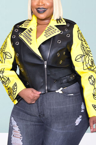 Yellow Fashion Street Adult Polyester Letter Print Rivets Letter Turndown Collar Plus Size