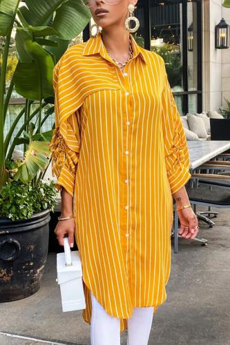 Yellow Elegant Polyester Striped Fold Turndown Collar Outerwear