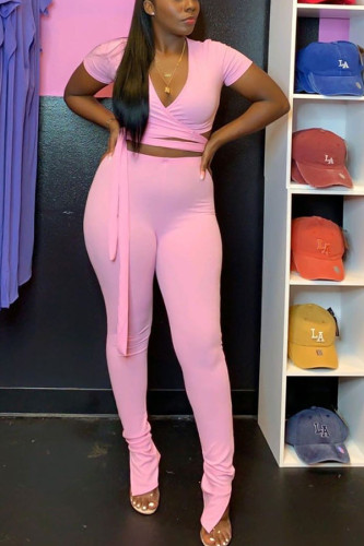 Pink Polyester Fashion Sexy adult Ma'am Solid Two Piece Suits pencil Short Sleeve Two Pieces
