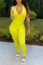 Yellow Sexy Backless Solid Cotton Blend Sleeveless Hanging neck Jumpsuits