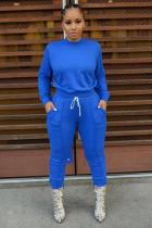 Blue Polyester Solid Patchwork pencil Long Sleeve