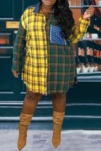 Yellow Cotton blend cardigan Long Sleeve Plaid TOPS