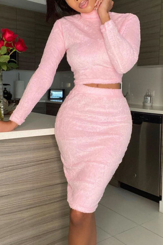 Pink Casual Polyester Plush Patchwork Solid Split Joint O Neck Long Sleeve Regular Sleeve Short Two Pieces