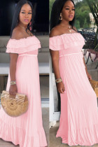 Pink Polyester Sexy Fashion Off The Shoulder Short Sleeves One word collar Step Skirt Floor-Length Solid