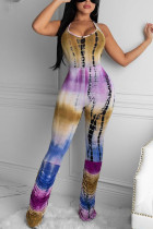 purple Fashion Sexy Print Backless Polyester Sleeveless O Neck Jumpsuits
