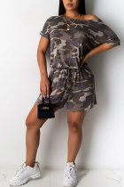 Blue Fashion Casual Print Patchwork bandage Camouflage Polyester Short Sleeve O Neck Jumpsuits