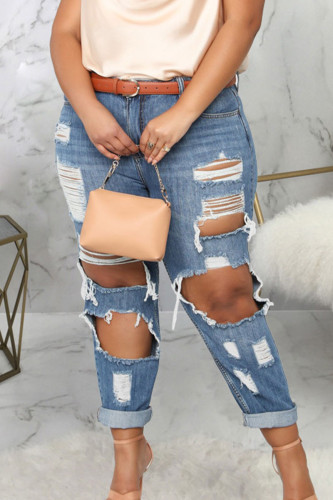 Blue Sexy Denim Solid Ripped Plus Size