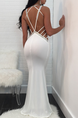White Polyester Sexy Off The Shoulder Sleeveless V Neck Step Skirt Floor-Length backless Solid Patchwork Party and Cocktail Dresses QM311438