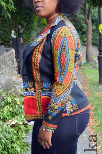 Black Turndown Collar Print Nylon Print Long Sleeve Outerwear