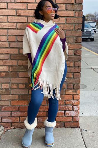 Dark Gray Scarf Collar Rainbow Patchwork tassel Cotton Others Long Sleeve cloak SM781207