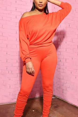 Orange Polyester Sexy Europe and America Solid pencil Long Sleeve Two Pieces