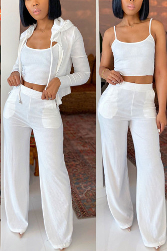 White Polyester Fashion adult Ma'am Lightly cooked Solid Two Piece Suits Loose Long Sleeve Two Pieces