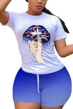Blue venetian Fashion Casual adult Ma'am Print Gradient Two Piece Suits pencil Short Sleeve Two Pieces