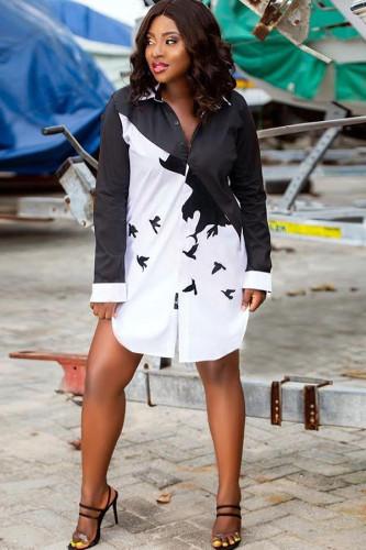 Black Polyester Notched Long Sleeve Print Patchwork Blouses & Shirts YA114062