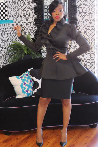 Black Asymmetrical Collar Solid ruffle Polyester Pure Long Sleeve Suit jacket YZ031226