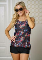 Black Polyester Print Contrast Color Tankinis Set