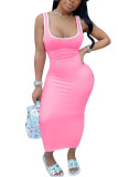 Fluorescent green Polyester Fashion Sexy adult Ma'am Red Black Pink Royal blue Tank Sleeveless Slip Step Skirt Ankle-Length Solid Dresses