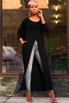 Black Polyester O Neck Nine Sleeves Solid Long Sleeve Tops AN24038