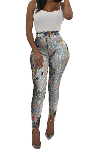 Blue Polyester Elastic Fly High Sequin Skinny Pants