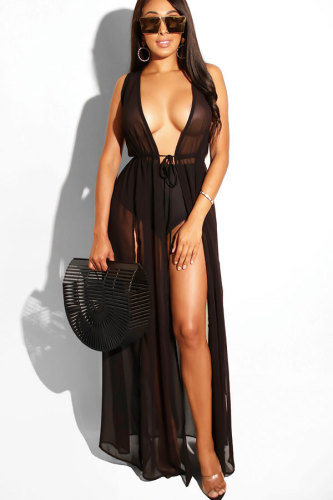 Black Polyester Hooded Out Solid Mesh Patchwork Casual Sexy Cover-Ups & Beach Dresses ZS571162