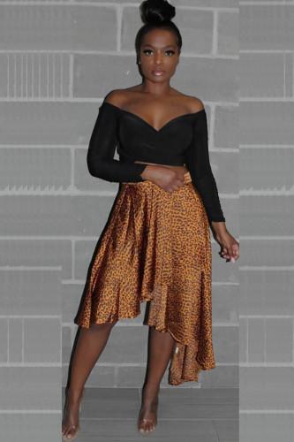 Gold Polyester Elastic Fly Mid Asymmetrical Print Leopard A-line skirt Skirts