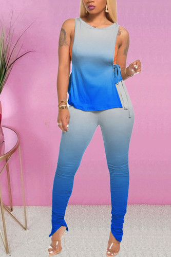Dark Blue Polyester Fashion Casual adult Ma'am Print Gradient Two Piece Suits pencil Sleeveless Two Pieces