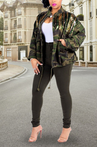 Camouflage zipper Patchwork Print Camouflage Sequin Cotton Print Long Sleeve Outerwear