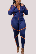 Dark Blue Fashion Sportswear Adult Twilled Satin Solid Split Joint Turndown Collar Long Sleeve Regular Sleeve Regular Two Pieces