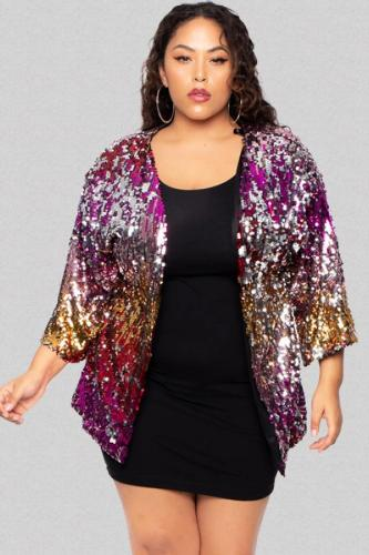 As Show Polyester adult Sexy Fashion V Neck Embroidery Patchwork Gradient Sequin Sequined Plus Size overcoat OH56055