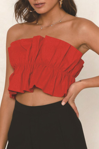 Red Cotton One word collar Sleeveless bow-knot Solid Draped Tank Tops & Camis LH351328
