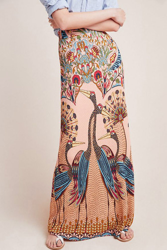 As Show Polyester Elastic Fly Mid Print Hip skirt Skirts