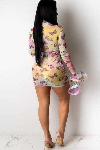 Pink Network Sexy Cap Sleeve Long Sleeves O neck Pencil Dress skirt Print perspective Mesh Print Dresses DE09072