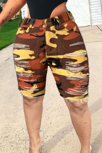 Camouflage Pink Yellow Camouflage Denim Zipper Fly Mid Hole washing pencil Capris BOTTOMS