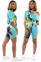 Green Polyester Fashion adult Casual Tie Dye Bandage Print Two Piece Suits Patchwork pencil Half Sleeve SM781212