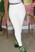White Polyester Elastic Fly High Solid pencil Pants BOTTOMS