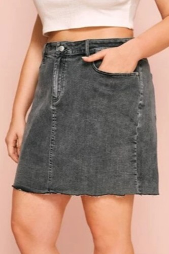 Black Denim Button Fly Mid Patchwork Solid A-line skirt shorts BOTTOMS