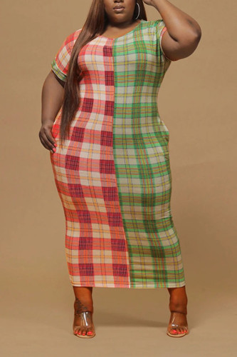Red-green knitting Sexy O Neck Plaid Print Plus Size