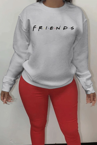 White Polyester Fashion Active adult Ma'am O Neck Letter Print Plus Size