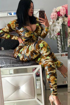 Yellow Sexy Print Polyester Long Sleeve O Neck Jumpsuits SI110056