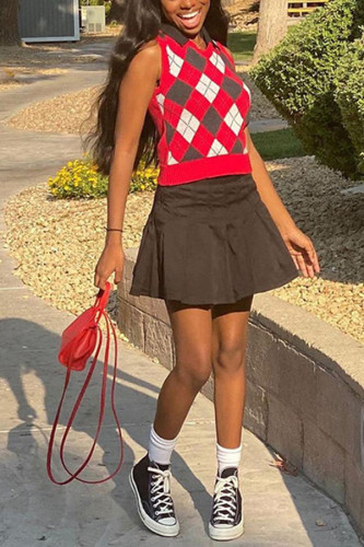 Red knitting O Neck Sleeveless Plaid Patchwork Print TOPS