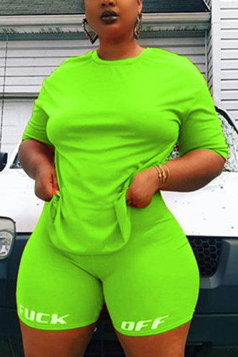 Green Polyester Fashion Sexy adult Ma'am O Neck Print Two Piece Suits Plus Size