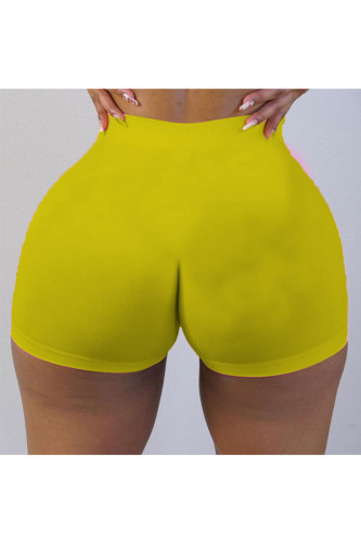 Blue Polyester Elastic Fly High Solid Straight shorts BOTTOMS